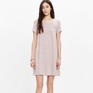 Madewell Swingy Tee Dress Striped Sz M Beige